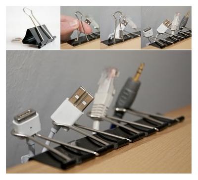 Pinces à documents pour organiser ses câbles