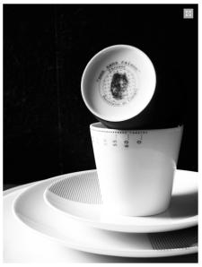 Timbale Chronos Platine - NON SANS RAISON - Porcelaine de Limoges